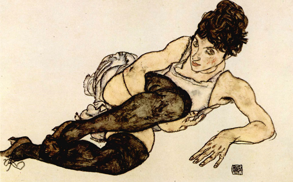 schiele-woman-with-green-stockings-ink-and-tempera-1917